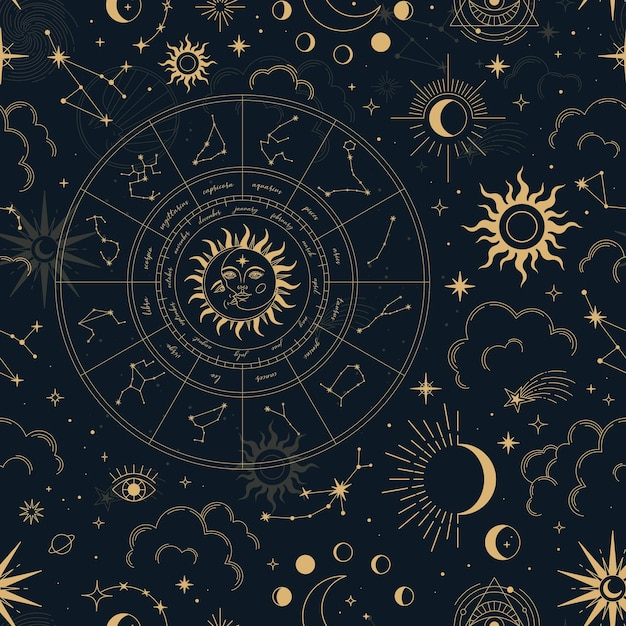 별자리, 조디악 바퀴, 태양, 달, 마법의 눈, 구름과 별 벡터 마법의 완벽 한 패턴입니다. 프리미엄 벡터