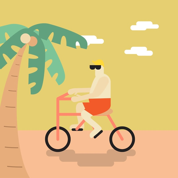 Vector of a man cycling on the beach Free Vector