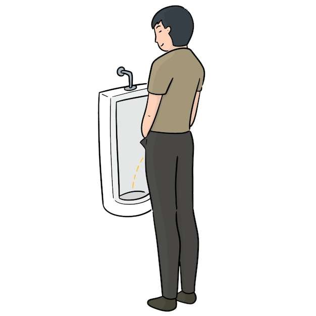 Vector of man peeing Premium Vector