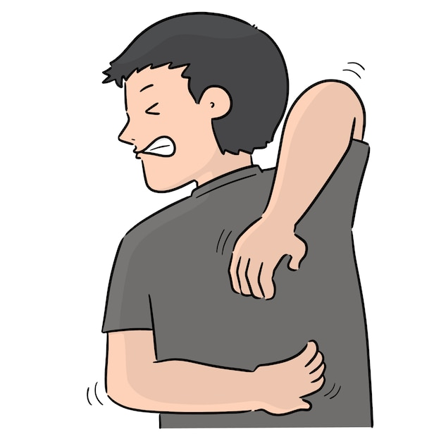 Vector of man scratching back Premium Vector