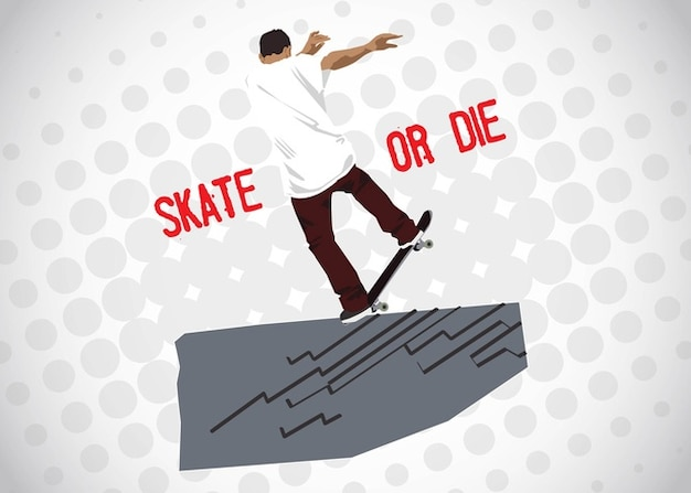 Vector man with skateboard