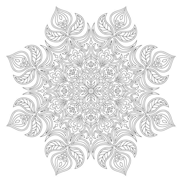 ベクトルマンダラ。東洋の装飾的な要素。イスラム、アラビア、インド、トルコ、パキスタン、中国語、オスマン風のモチーフ。エスニックなデザイン要素手描き曼荼羅。着色のための白黒輪郭曼荼羅。 Premiumベクター