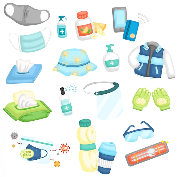 A vector of many items that is essential for new normal Free Vector