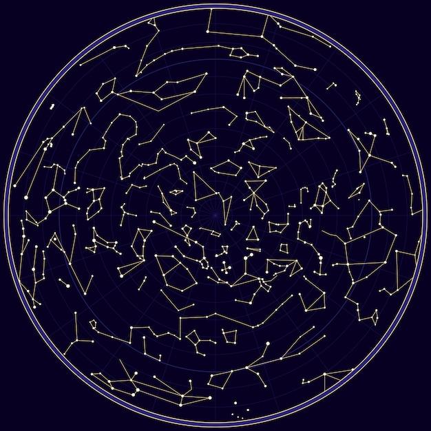 Vector map of norhern sky with constellations Premium Vector