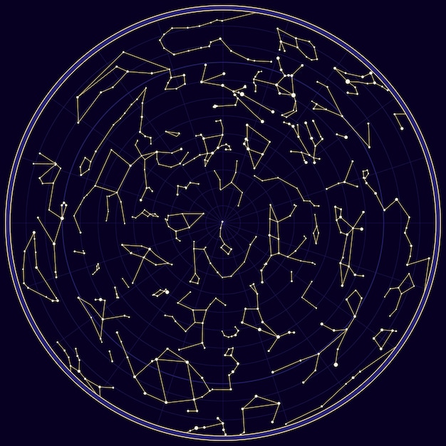 Vector map of southern sky with constellations Premium Vector