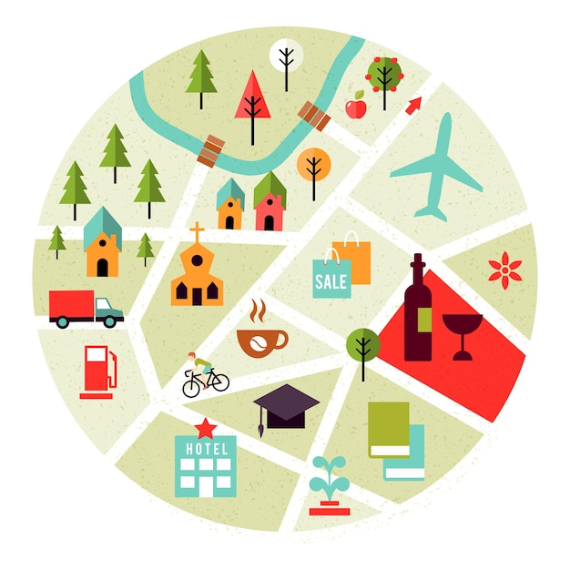 Vector map with places icons. trees, houses and roads Free Vector