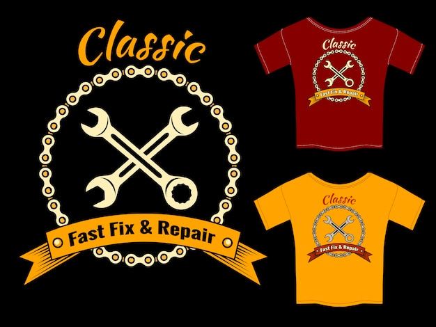 Vector mechanic fast fix and repair t-shirt template design  isolated on black background. Free Vector