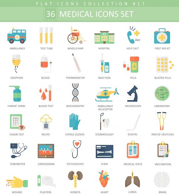 Vector medical color flat icon set. elegant style design. Premium Vector