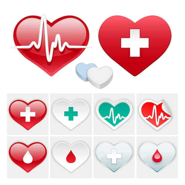 Vector medical set of hearts icons Premium Vector