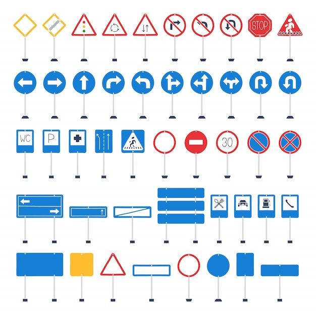 Vector mega set of cartoon road signs Premium Vector