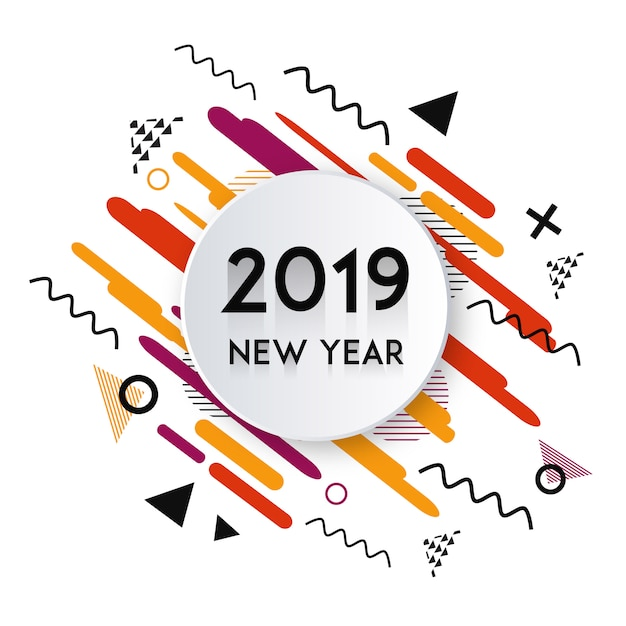 Vector memphis 2019 new year design Free Vector