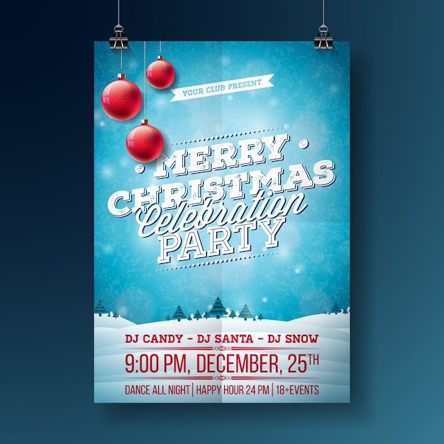 Vector Merry Christmas Party Flyer Illustration with Typography