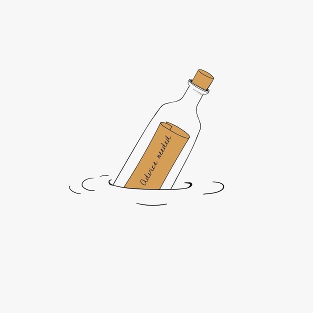 Vector of message bottle Free Vector