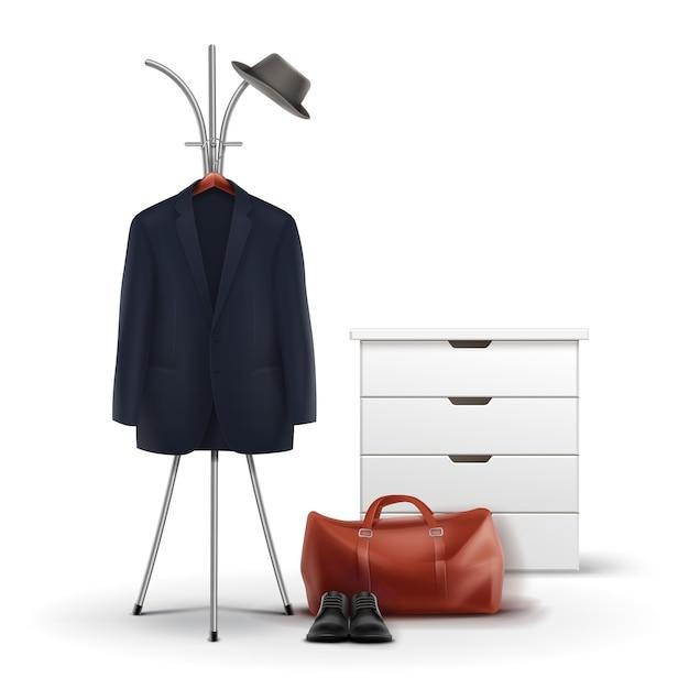 白い背景で隔離の帽子、コート、靴、バッグの正面図とベクトル金属服ラックと白いワードローブ 無料ベクター