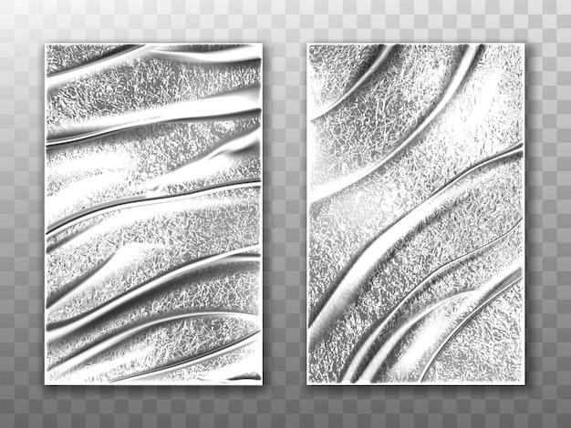 Mockup vettoriale di fogli di alluminio, film estensibile argento Vettore gratuito