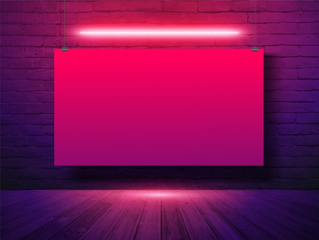 Vector mockup poster banner hanging with on brick wall background, neon light Premium Vector