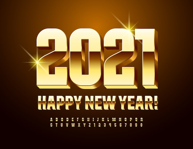 Vector modern card happy new year 2021! decorative chic font. gold 3d alphabet letters and numbers Premium Vector