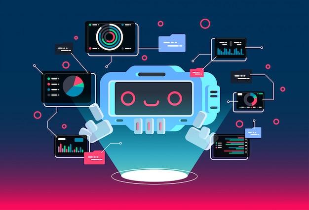Vector modern flat cartoon character  . chat bot greets. Premium Vector