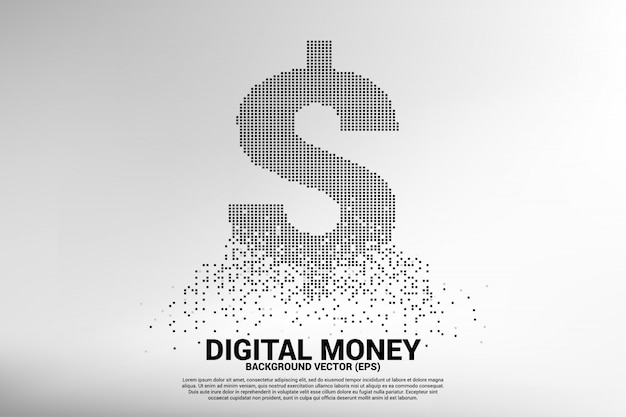 Vector money dollar icon from flying square pixel. Premium Vector