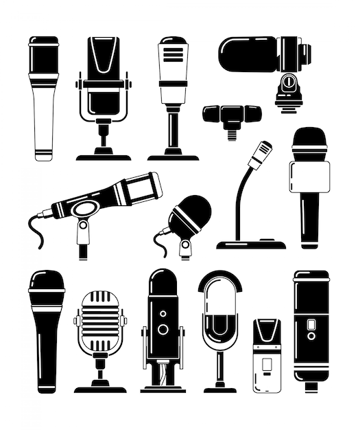 Vector monochrome illustrations of microphones and other professional tools for reporters Premium Vector