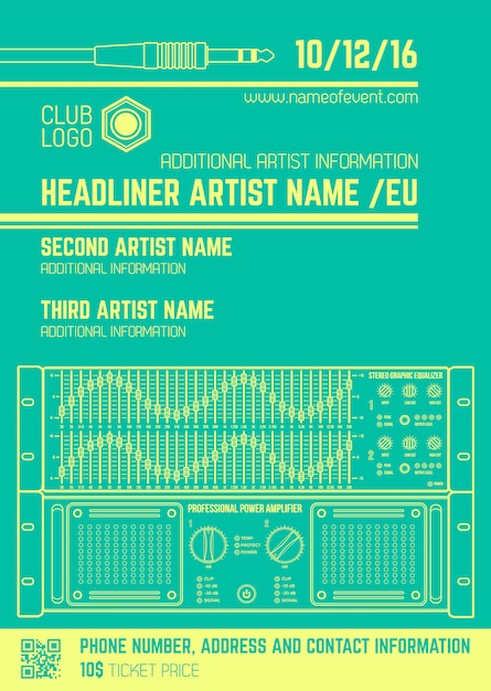 Vector monochrome light green club poster template with sound equalizer and amplifier Premium Vector