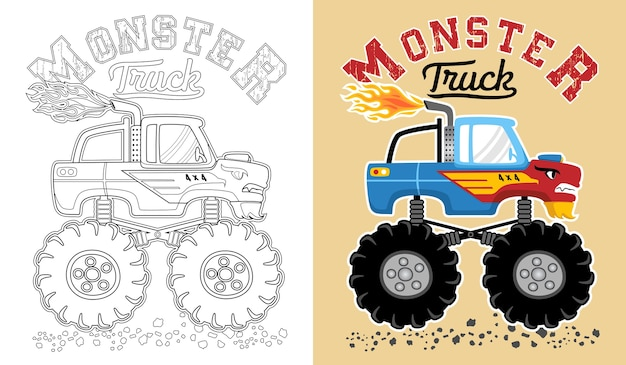 Vector of monster truck cartoon. coloring book or page Premium Vector
