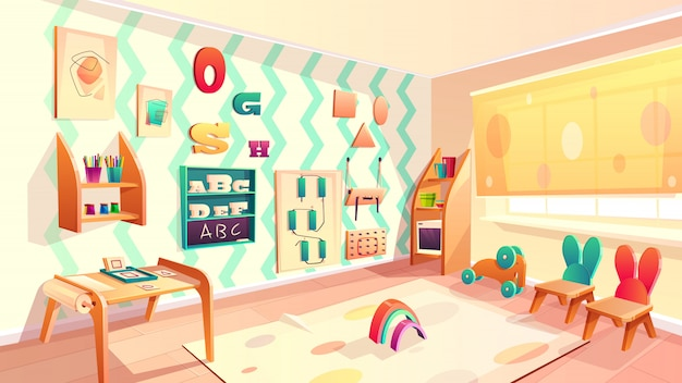 몬테소리 룸, 가구와 초등학교 배경 벡터. 유아를위한 유치원, dayca 무료 벡터