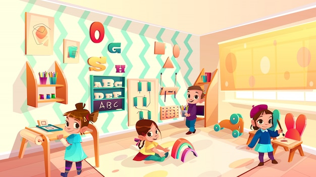 Vector montessori room with children, elementary school background Free Vector