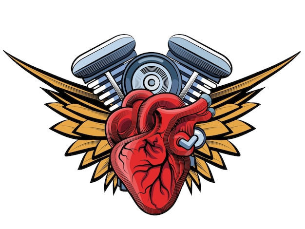 Vector motorcycle engine with wings illustration Free Vector
