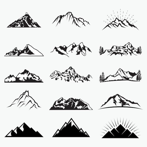 Vector mountain shapes Premium Vector
