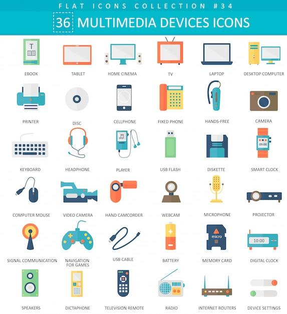 Vector multimedia devices flat icon set. elegant style design. Premium Vector