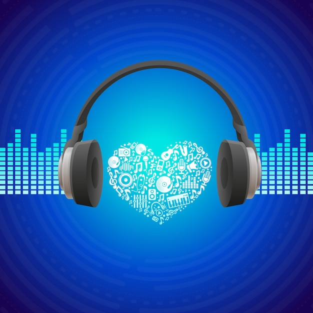 Vector music concept - abstract background with headphones Premium Vector
