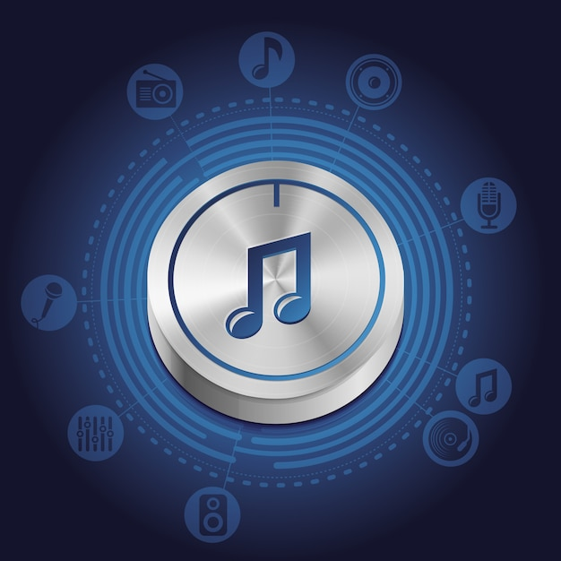 Vector music concept with metal button Premium Vector