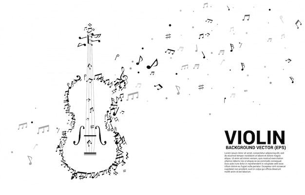 ベクトル音楽メロディーノートダンスフロー形状ヴァイオリン Premiumベクター