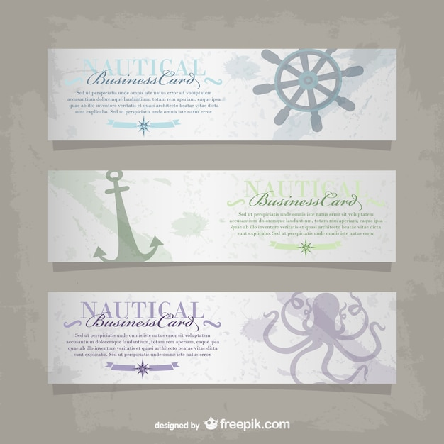 Vector nautical business card vector free download for Nautical business cards
