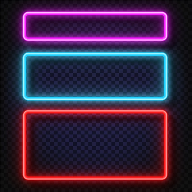 Vector neon light frame sign. Premium Vector