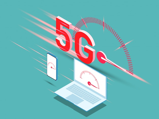 Vector of new 5th generation of internet concept, speed of 5g network internet wireless. Premium Vector