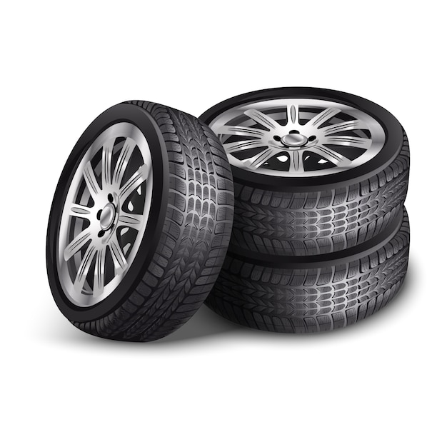 Vector New Car Tires Wheels With Alloy Rims Isolated On White Background Premium Vector