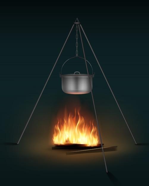 Vector nuova pentola da campeggio in acciaio lucido con coperchio e maniglia sulla vista laterale del falò Vettore gratuito