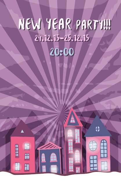 vector new year retro party flyer with cute street night purple holiday background premium