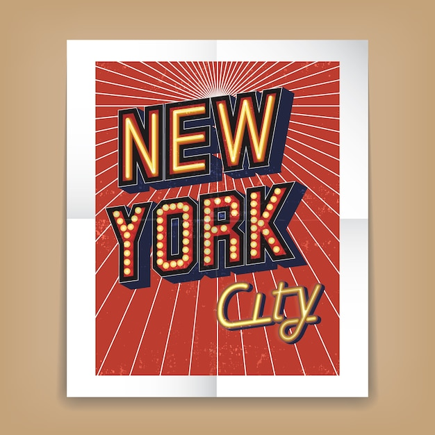 Vector new york city poster with text fonts in the form of neon or electric signs Free Vector