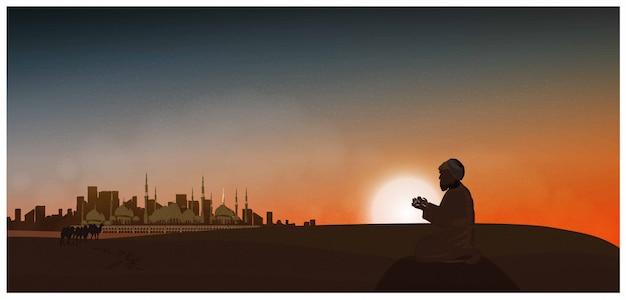 Vector night or twilight scene of arabian desert. vector of mosque, dust, sand, desert, camels, prayer prays to god in ramadan celebration month. Premium Vector