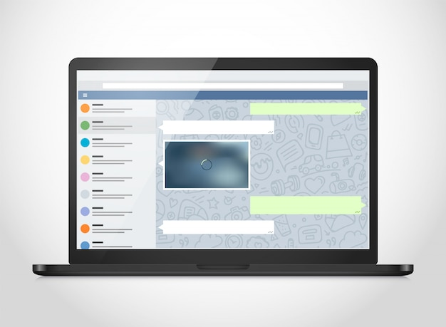 Vector notebook with messenger application on the screen. Premium Vector