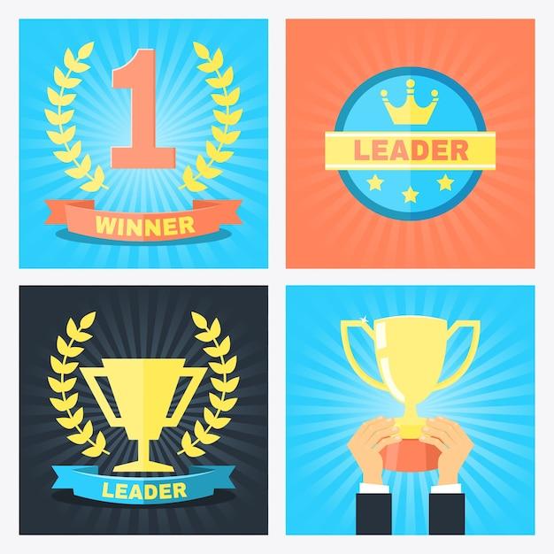 Distintivi di numero uno, vincitore e leader di vettore in stile piatto Vettore gratuito