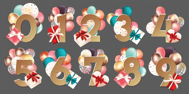 Vector numbers with boxes and balloons Premium Vector
