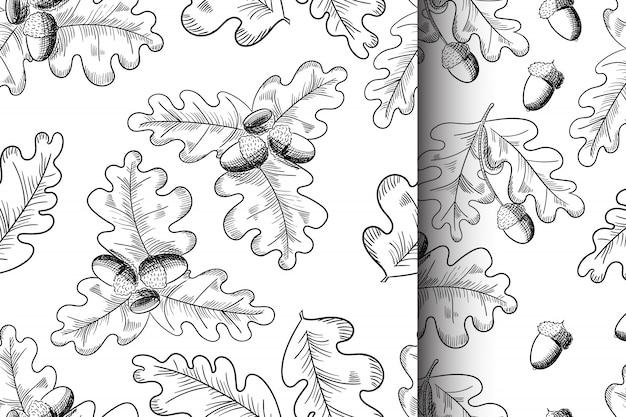 Вектор дубовый лист и желудь рисования бесшовный фон набор. Premium векторы