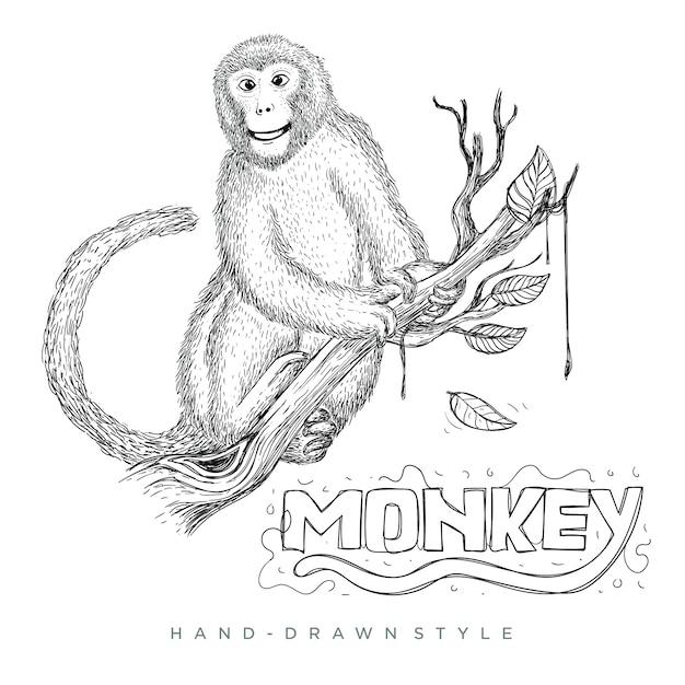 木の幹に座っている猿のベクトル。手描き動物イラスト Premiumベクター