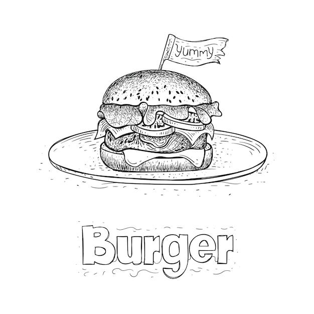 Вектор бургера на тарелке, рисованной иллюстрации еды Premium векторы