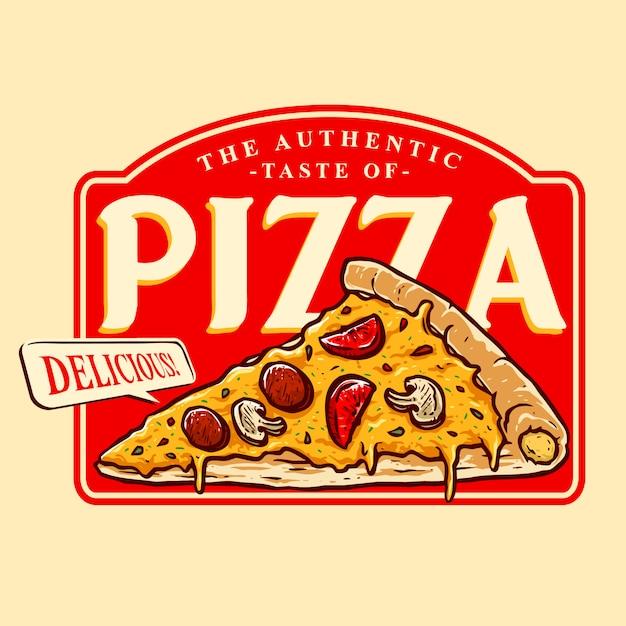 おいしいピザのロゴのバッジのベクトル Premiumベクター
