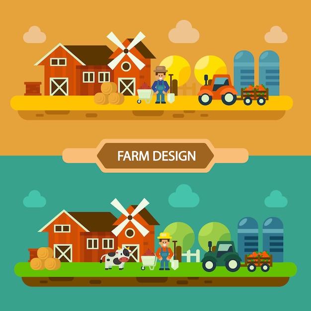 フィールドファームの風景の概念、夏と秋の農場、農業、農業のベクトル。図 Premiumベクター